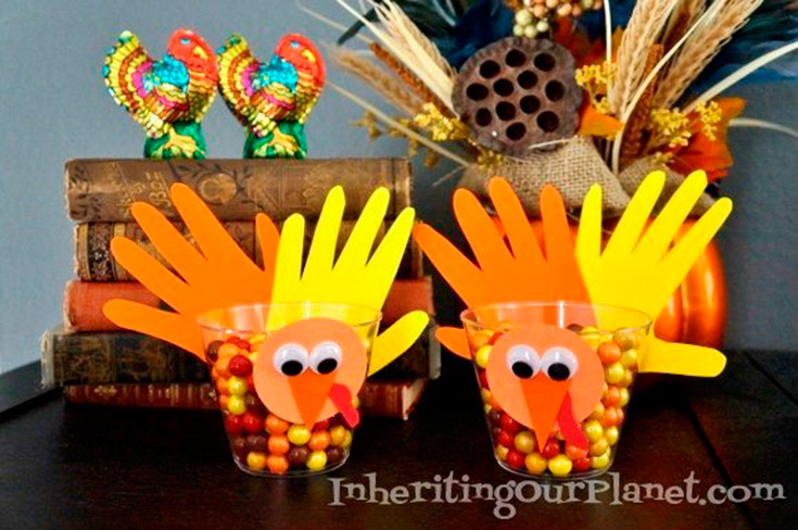Hand Turkey Candy Dishes Craft For Kids