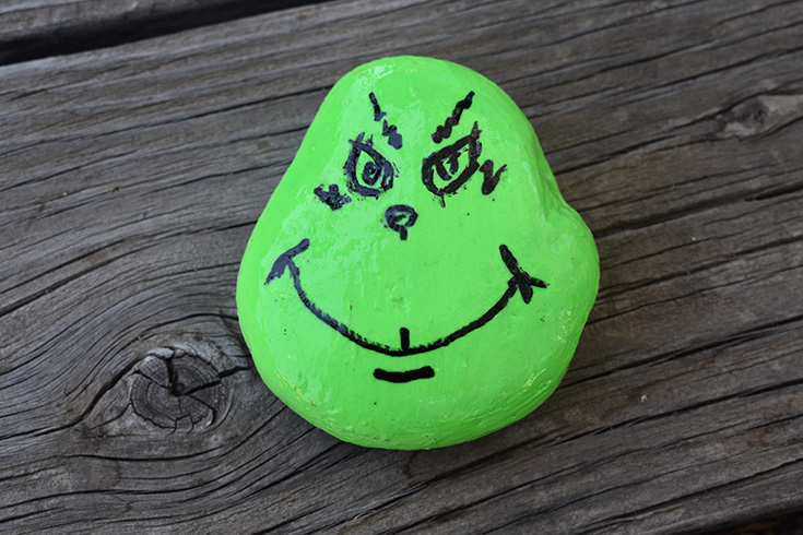 The Grinch Painted Rock Idea